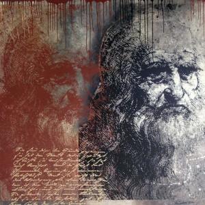 """Leonardo da Vinci """"Selbstportrait"""", 130 x 130 cm, Siebdruck/freie Malerei"""